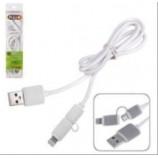 Кабель PULSO USB-Micro USB/Apple 1м white круглий