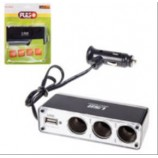 Розгалужувач прикурювача на 3 гнізда з USB провід/запобіжник WF-0096 (USB=500m)