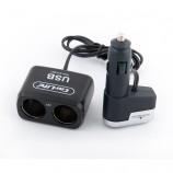 Розгалужувач прикурювача 2в1 + USB 12V 5A Carlife CS303