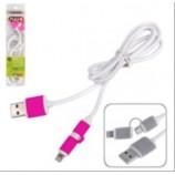 Кабель PULSO USB-Micro USB/Apple 1м pink круглий CP-001P