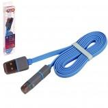Кабель PULSO CP 002 USB-Micro USB/Apple 1м blue плоский